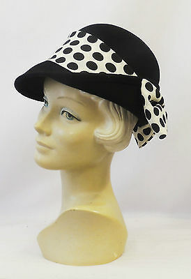 New Retro Vintage 1940's 50s style Black Felt Fedora Hat with Polka dot Bow