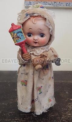 """Vintage 1950s Wind Up Doll Made in Japan """"baby with bell"""" toys RARE"""