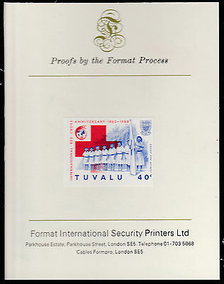 Tuvalu (1584) - 1988 RED CROSS 40c  imperf on Format International PROOF  CARD