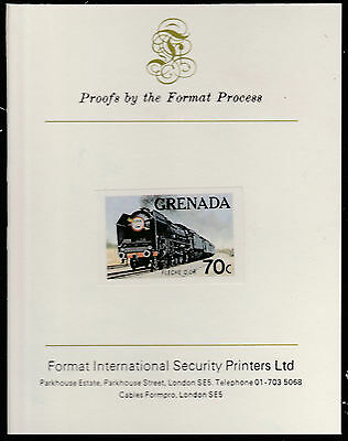 Grenada (1598) - 1982  FAMOUS TRAINS  imperf on Format International PROOF  CARD