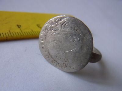 Old Silver Ring With Medieval Silver Coin