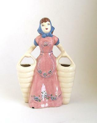 Weil Ware California Figural Vase  Girl with 2 White Baskets