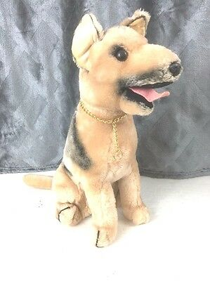 Vintage 1975 Dakin German Shepherd Dog Plush with Gold Collar
