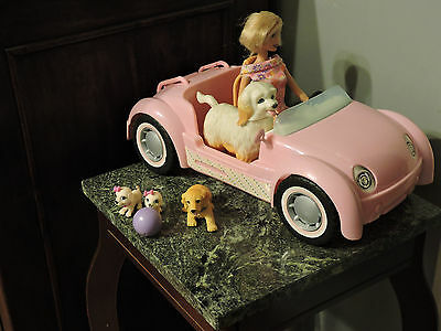 Barbie with Barbie Pink (Volkswagon) Car and   Four Pet Dogs