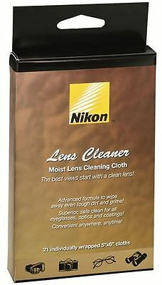 "New Nikon Lens Cleaner Moist 5""x6"" Cleaning Cloths 21 Individually Wrapped 8175"