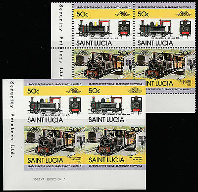 St Lucia (1606) - 1984 LOCOMOTIVES  IMPERF Block plus matched normal unmounted