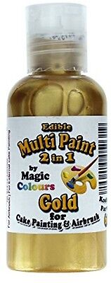 Magic Colours Metallic Edible Airbrush Gold Paint for Cake Painting and Airbrush