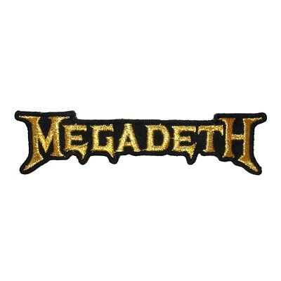Megadeth Gold Band Logo Patch Heavy Metal Music Embroidered Iron On Applique