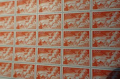 FEUILLE SHEET TIMBRE POSTE AÉRIENNE PA N°19 x25 1946 NEUF ** LUXE MNH COTE 189€