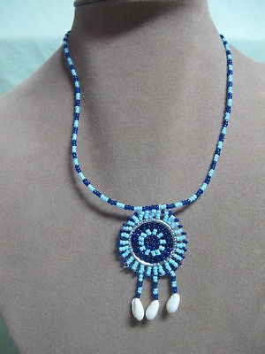 So American  Necklace w/ Blue Micro Beads and Shells