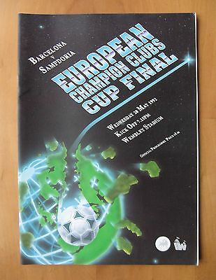 1992 European Cup Final BARCELONA v SAMPDORIA Exc Cond Programme English Edition