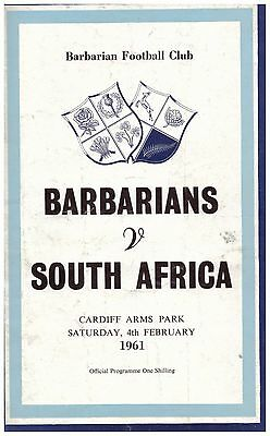 PROGRAMME BARBARIANS v SOUTH AFRICA AT CARDIFF ARMS PARK DECEMBER 1961