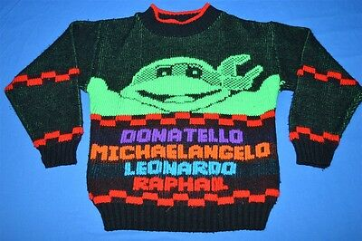vintage 90s TEENAGE MUTANT NINJA TURTLES NAMES NEON KIDS SWEATER YOUTH SMALL YS