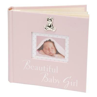 New Baby 80 6'x4' Photo Album with Silver Teddy Attachment - Beautiful Baby Girl