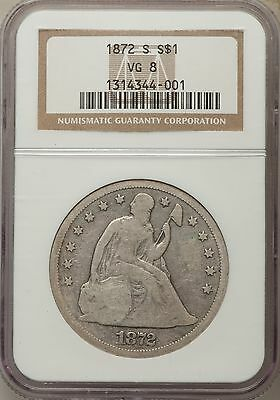 1872-S US Seated Liberty Silver Dollar $1 - NGC VG8