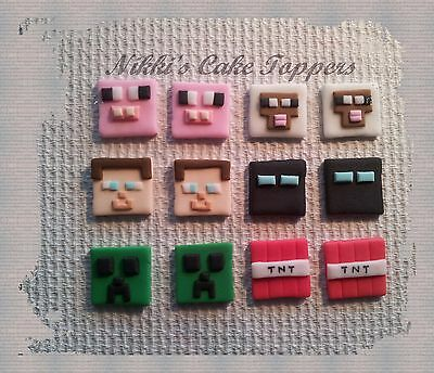 edible Minecraft boys x 12 cupcake cake topper decorations