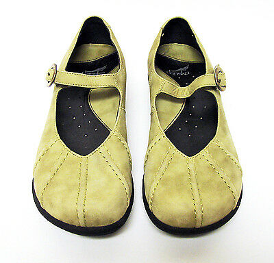 Dansko Soft Green Nubuck Leather Mary Jane Shoes Clogs Size 37 US 6.5 7
