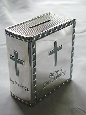 Silver Plated Christening Gift Book Money Box in Presentational Box