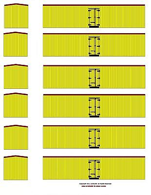 6 undecorated yellow color 40' boxcars TT scale printed reefer sides yellow ends