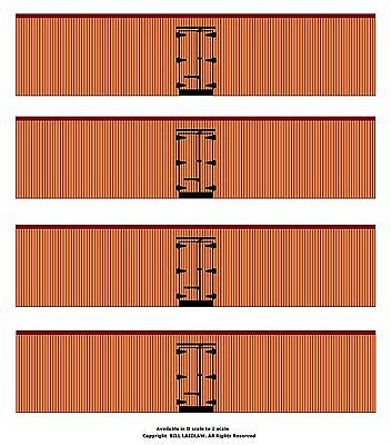 4 undecorated orange color 40' boxcars TT scale printed reefer sides