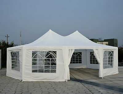 29.2ft High Peak Decagonal Wedding Event Party Tent 10 Removable Walls White