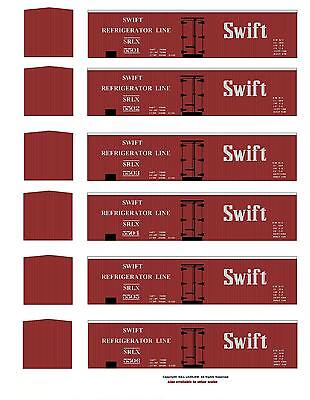 6 different red SWIFT boxcars TT scale printed reefer sides, 6 different numbers