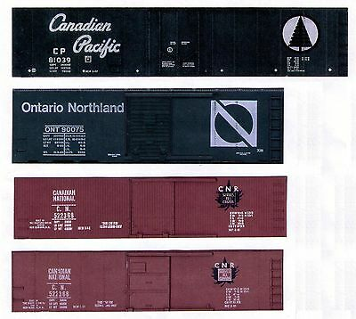 Four CANADIAN boxcars, TT scale printed sides
