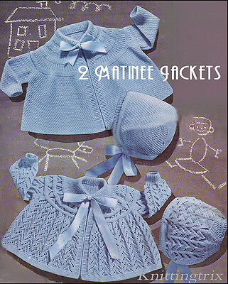 2 BABY JACKETS  KNITTING PATTERN - 3 ply -Double Moss and LACY