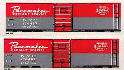 PACEMAKER, 5 boxcar set 5 car numbers TT scale sides