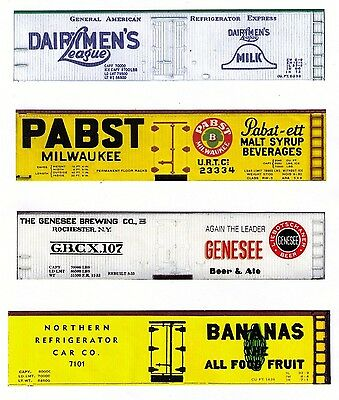 4 boxcars, Dairymen to Bananas, TT scale printed reefer sides
