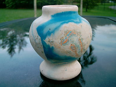 "Nemadji  Pottery Vase  Clear   Native  Usa Stamp 3.25"" Vivid  Blues And Oranges"