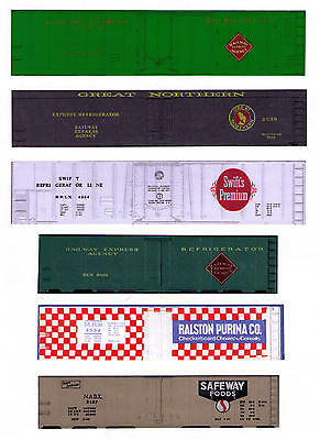 6 boxcars TT scale: REA, Great Northern, Purina, Safeway, Swift
