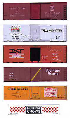 TT scale PRR, D&RG Cookie Box, NH, SP, 5 boxcars + Purina hopper, printed sides