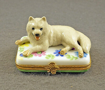 New Authentic French Limoges Trinket Box Samoyed Dog Puppy On Colorful Flowers