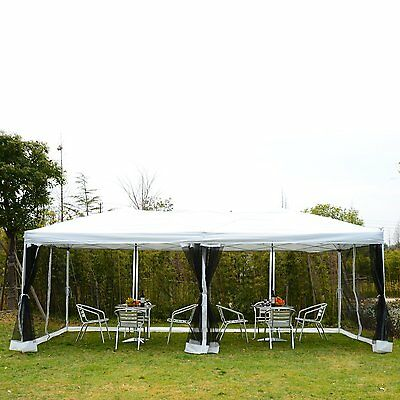 10'x20' Pop Up Party Tent Gazebo Wedding Canopy with 6 Removable Mesh Sidewalls