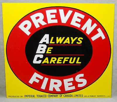 Vintage 1950's Imperial Tobacco Tin Prevent Forest Fires Advertising Sign.