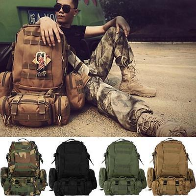 Men Outdoor 50L 3D Molle Assault Tactical Military Rucksack Backpack Camping Bag