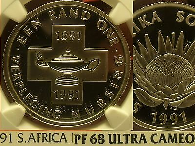 South Africa 1991 Rand Ngc Proof 68 Ultra Cameo Nursing 100 Years Free Shipping