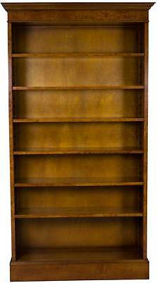 Burled Walnut Brand New Single Open Tall Bookcase Adjustable Bookshelf Classic