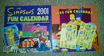 The Simpsons 1999  & 2001 Fun Calendars and Stickers - Homer Duff Beer