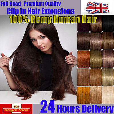 Real Long 20 22 inch Clip In Remy 100% Human Hair Extensions Full Head UK K672
