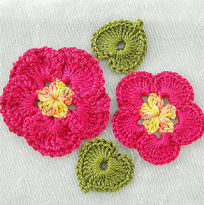 4 pc Satiny Handmade Crochet Flower Appliques Rosy Red LAST SET