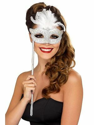 Baroque Silver and Feather Stick Mask