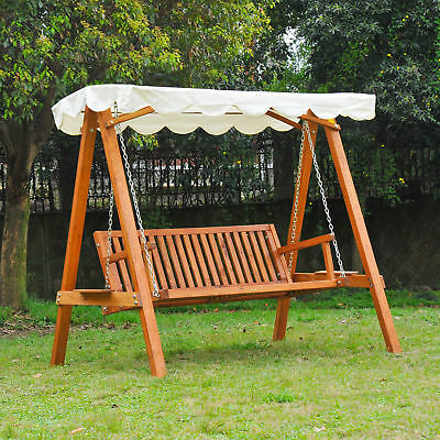 Outsunny Heavy-Duty 3 Seater Hardwood Swing Chair Hammock w/ Canopy Outdoor