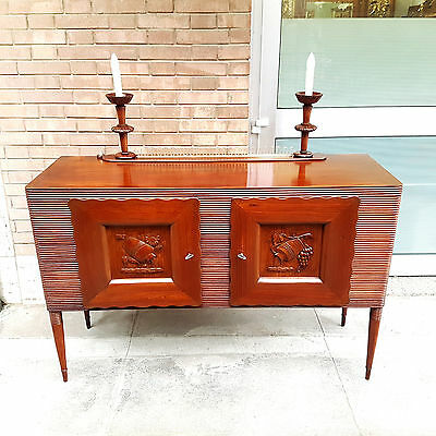 Very Rare Late Deco Sideboard With Light Points Melchiorre Bega From 1940