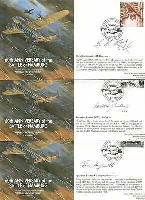 WW2 Lancaster Veterans signed Battle of Hamburg RAF Flown Cover Collection