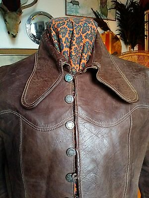 Stunning Vtg 70s Hide Leather Patricia Cole Strata Jacket.Bowie Disco Glam.Small