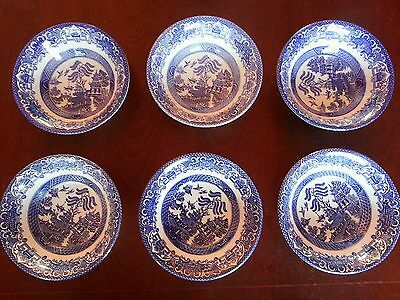 6 x Cereal Bowls EIT English Ironstone Tableware Old Willow Blue & White 6.5""