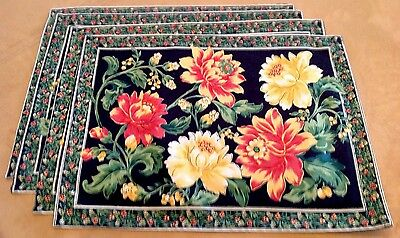 Four Placemats, Cotton, Victorian Flowers, Black, Yellow, April Cornell Style