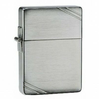Zippo 1935 Replica With Slashes Brushed Chrome Windproof Lighter Brand New